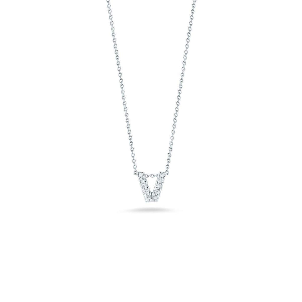 "Diamond ""V"" Love Letter Necklace (18k White Gold)"