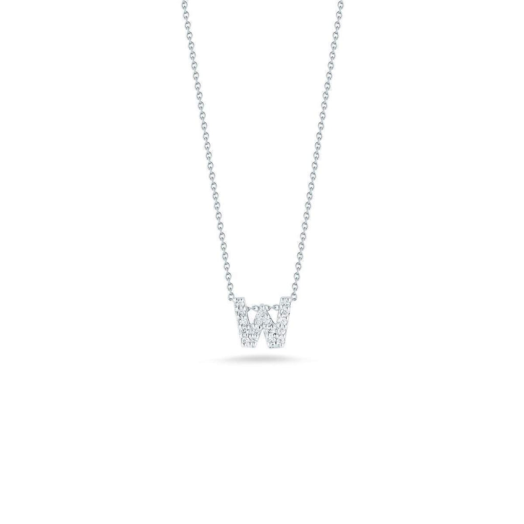 "Diamond ""W"" Love Letter Necklace (18k White Gold)"