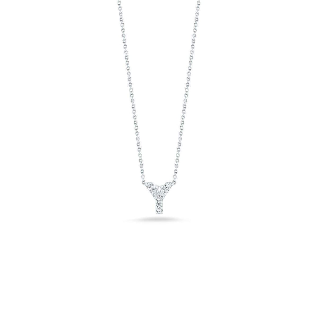 "Diamond ""Y"" Love Letter Necklace (18k White Gold)"