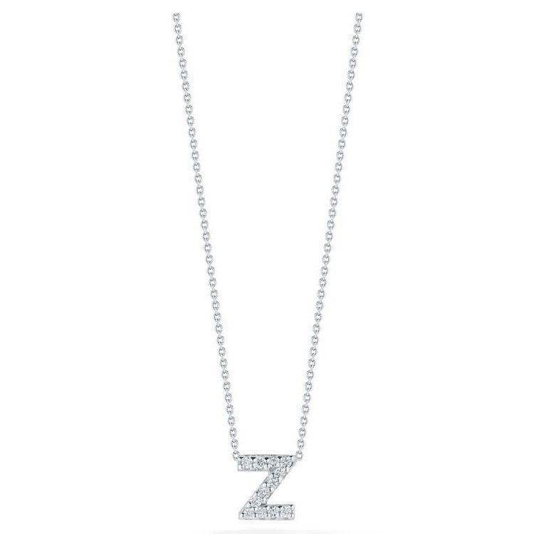 "Diamond ""Z"" Love Letter Necklace (18k White Gold)"