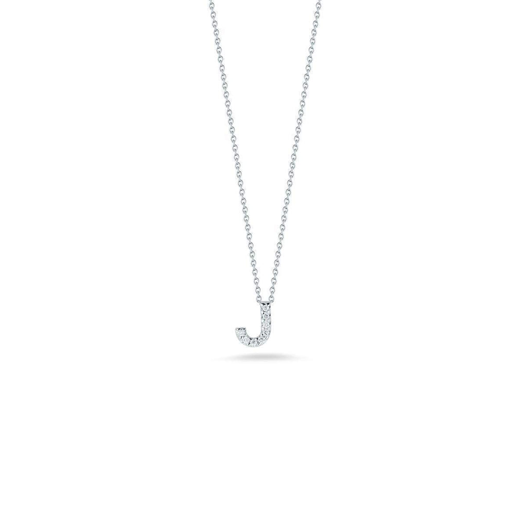 "Diamond ""J"" Love Letter Necklace (18k White Gold)"