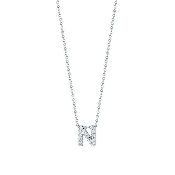 "Diamond ""N"" Love Letter Necklace (18k White Gold)"