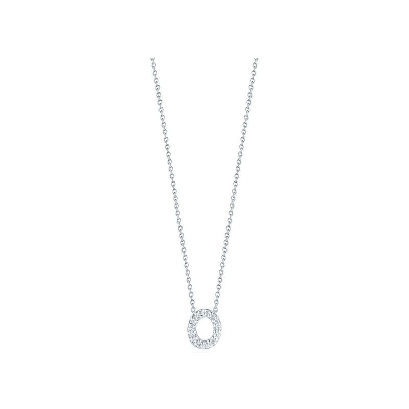 "Diamond ""O"" Love Letter Necklace (18k White Gold)"
