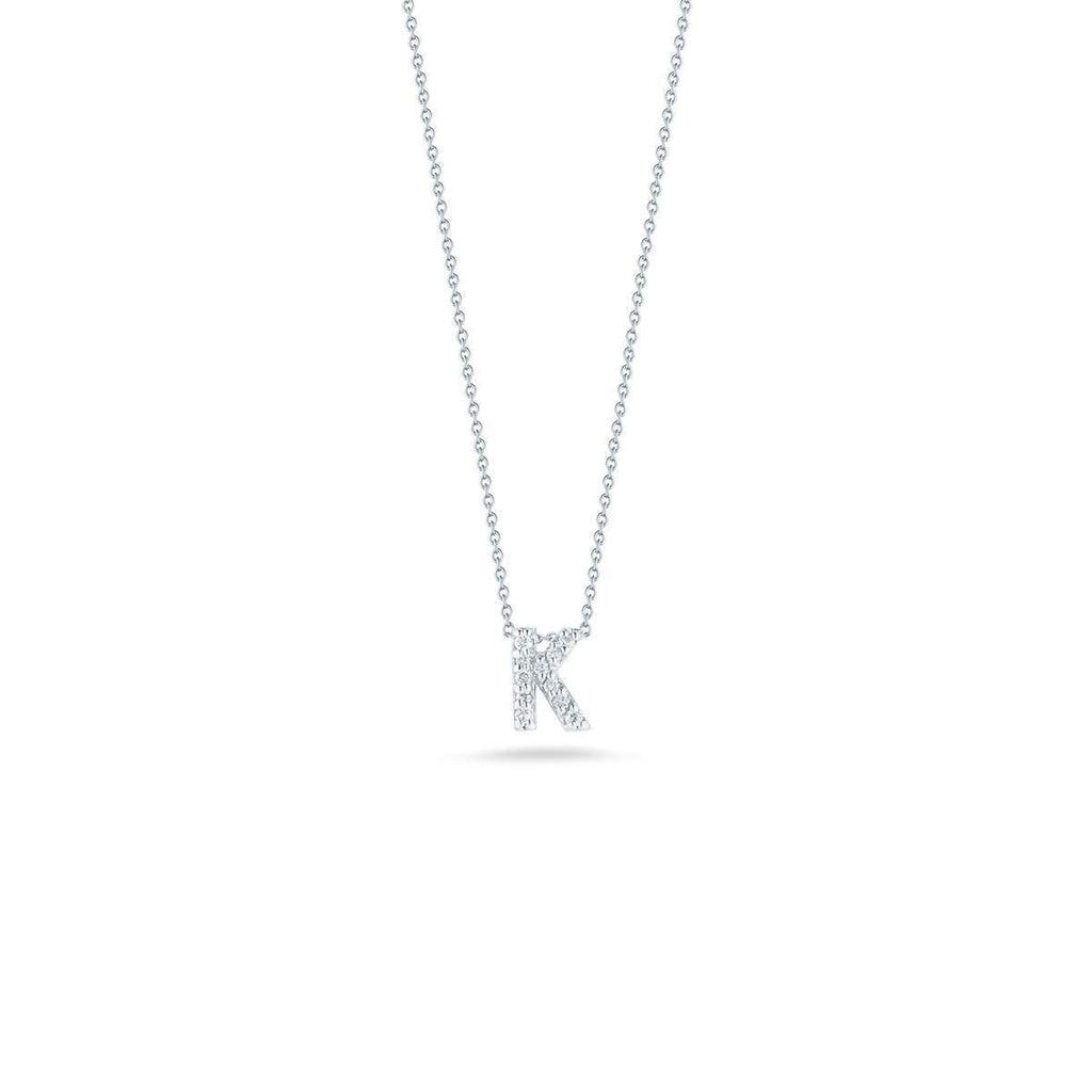 "Diamond ""K"" Love Letter Necklace (18k White Gold)"