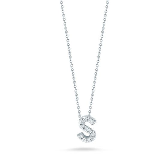 "Diamond ""S"" Love Letter Necklace (18k White Gold)"