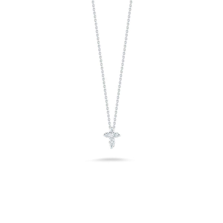 Diamond Baby Cross Necklace .11cts  (18k White Gold)