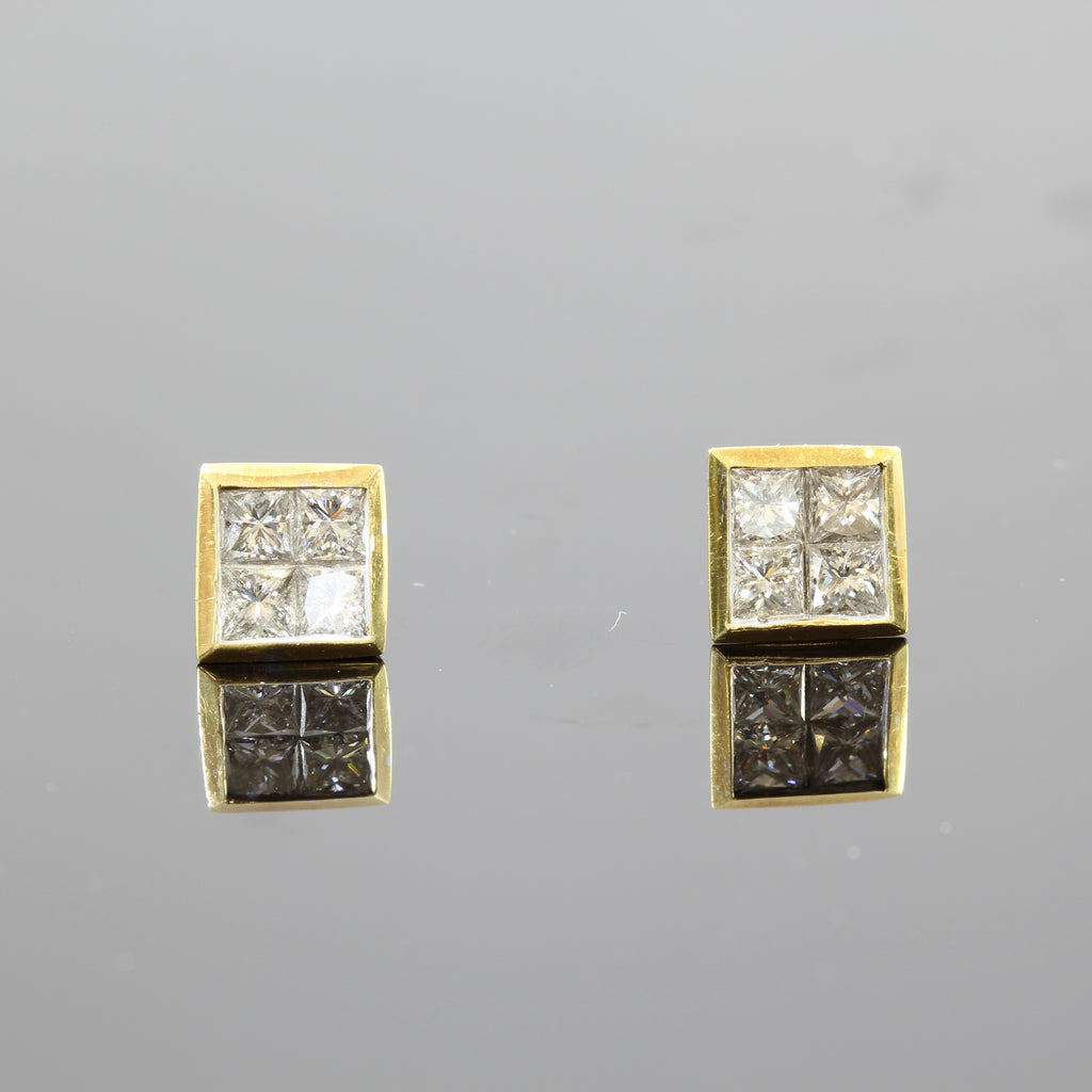 18K Yellow Gold Princess Cut Diamond Square Set Button Stud Earrings (1.00CT)