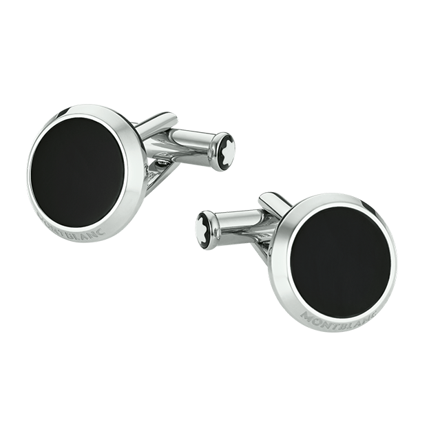 Stainless Steel & Black Onyx Round Cufflinks