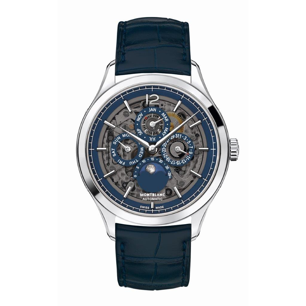 Stainless Steel 40mm Automatic Heritage Chrono Skeleton Case  Blue Alligator Strap Watch