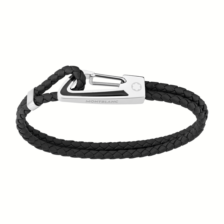 Stainless Steel & Black Lacquer Black Leather Braided Bracelet