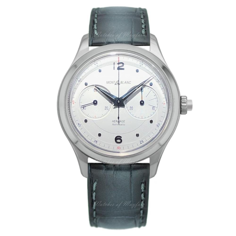 Stainless Steel 42mm Automatic Heritage Mono Pusher Silver Dial Grey Strap Watch