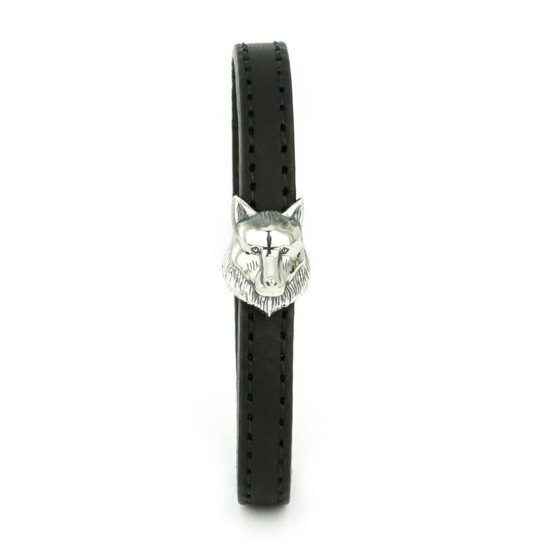 Silver & Black Kipling Leather Bracelet Size 63