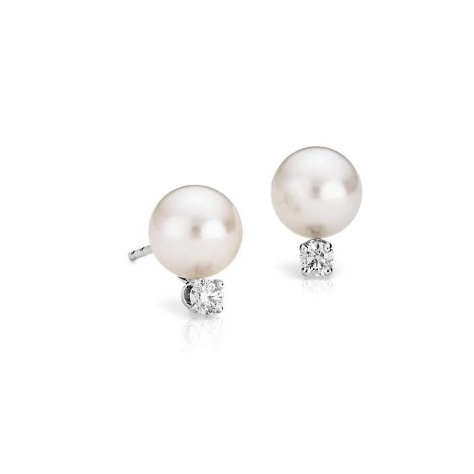 a14k White Gold 10.5-11mm White Pearl & Diamond Stud Earrings