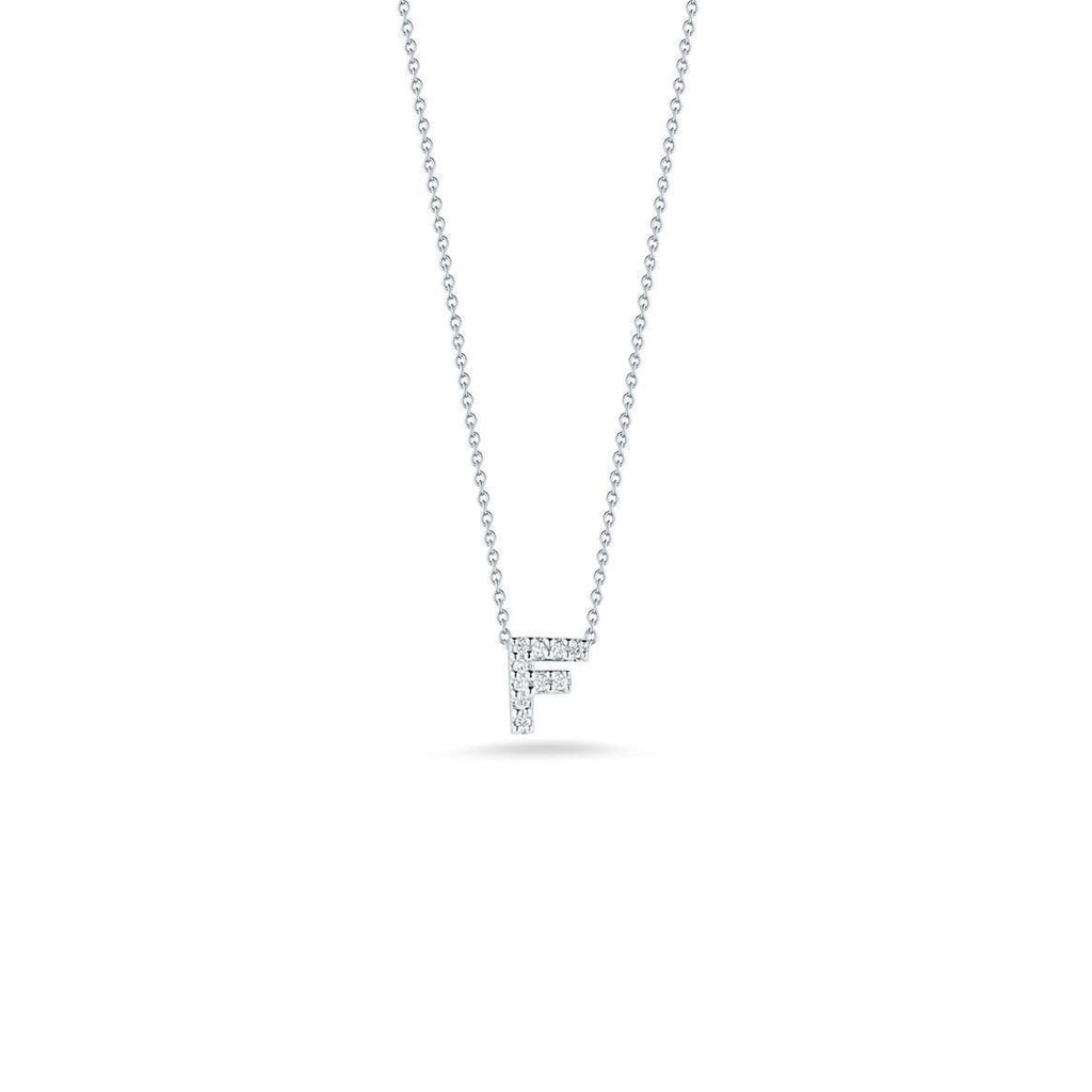"Diamond ""F"" Love Letter Necklace (18k White Gold)"