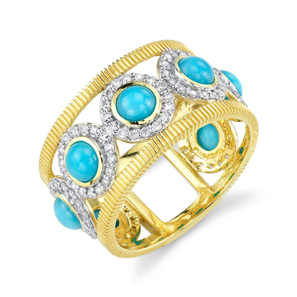 18k Yellow Gold Round Turquoise (1.42ct) & Diamond (.56ct) Ring