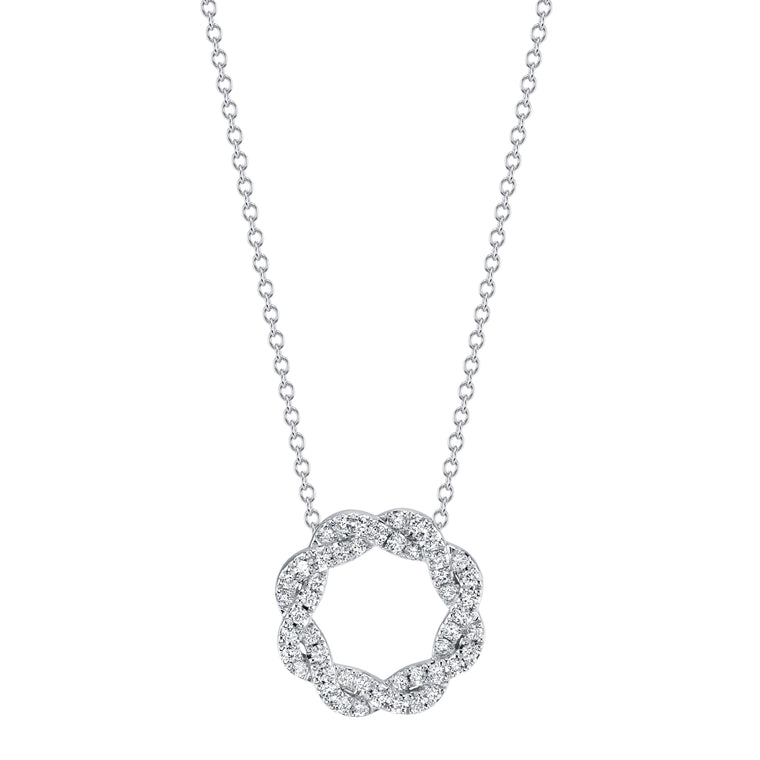 18k White Gold Braided Diamond  (.24ct) Circle Pendant Necklace