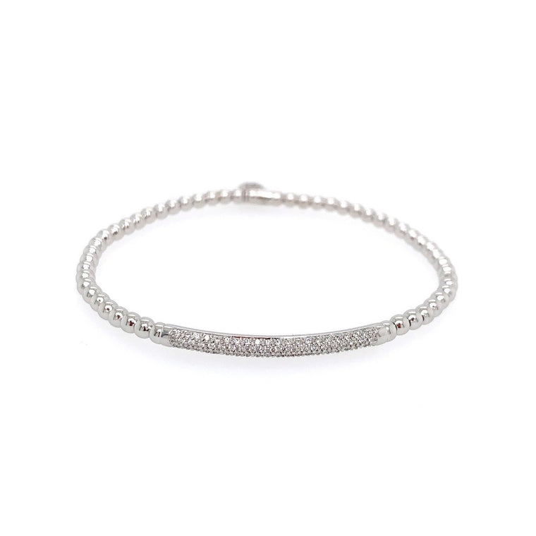 18k White Gold & Diamond Bar Stretch Bracelet (.30ct G Vs)