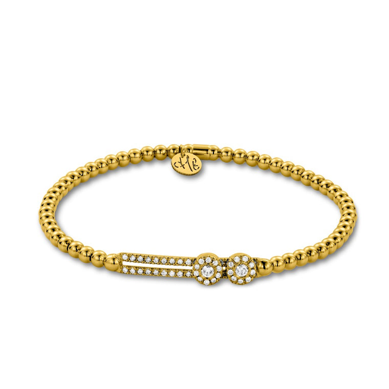 18k Yellow Gold & Diamond Double Station Sliding Stretch Bracelet (.37ctw)