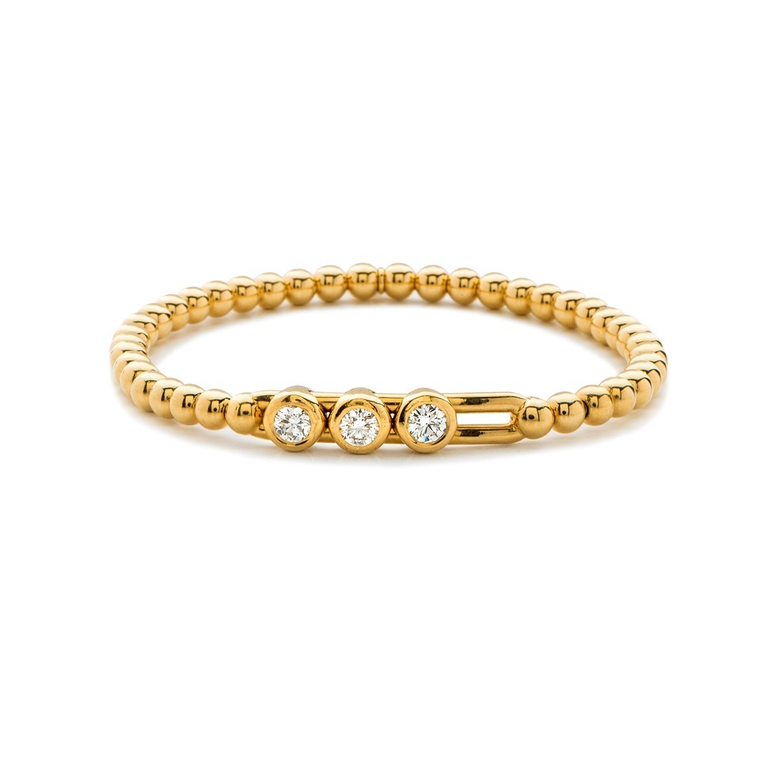 18k Yellow Gold Stretch Bracelet With 3 Station Sliding Diamonds (.28ct G Vs)