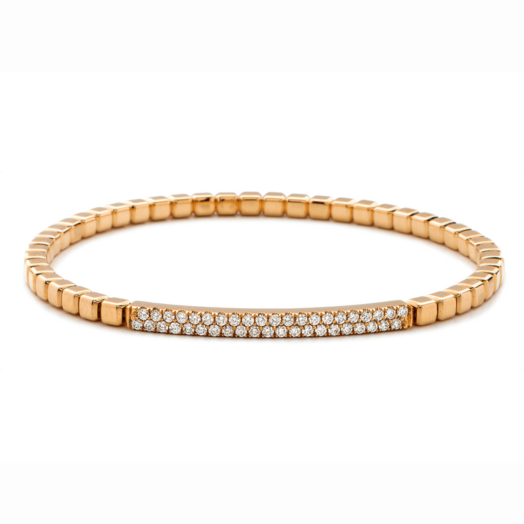 18k Rose Gold & Diamond Bar Stretch Bracelet (.45ct G Vs)