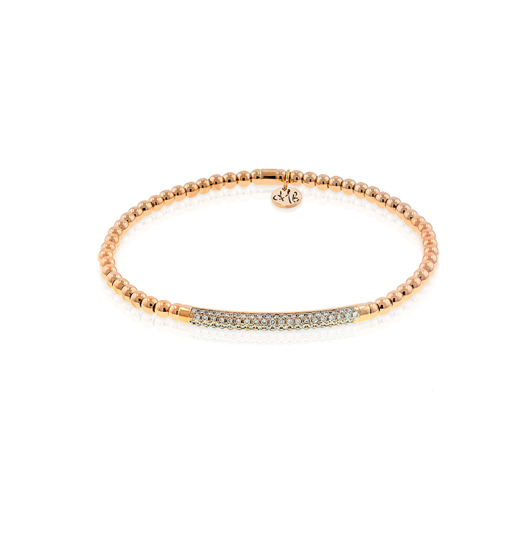 18k Rose Gold & Diamond Bar Stretch Bracelet (.38ct G Vs)