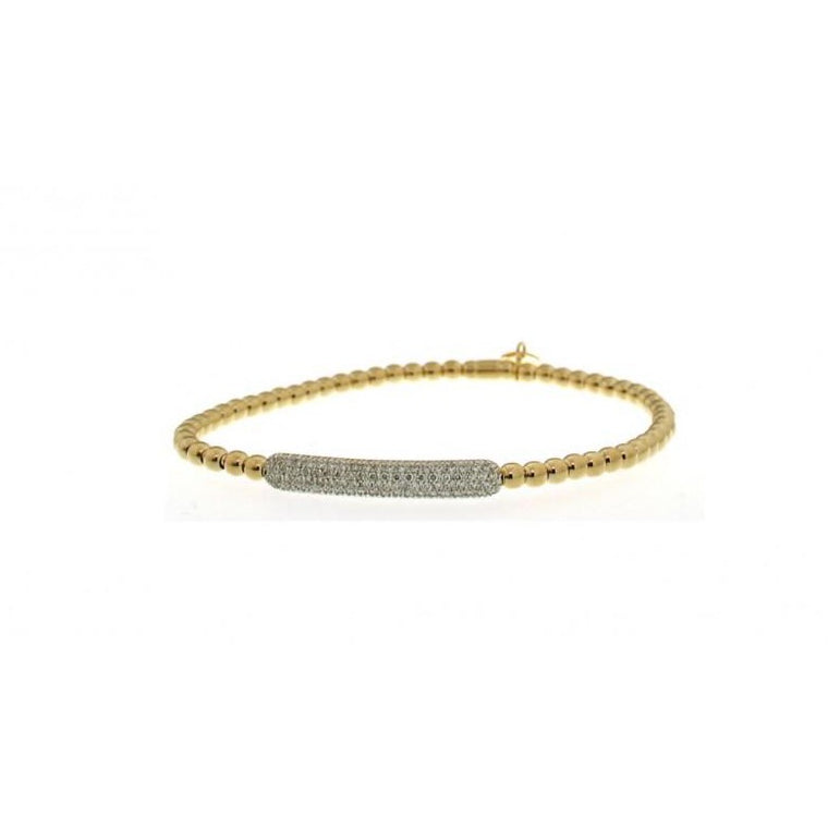 18k Yellow Gold & Diamond Bar Stretch Bracelet (.38ct G Vs)