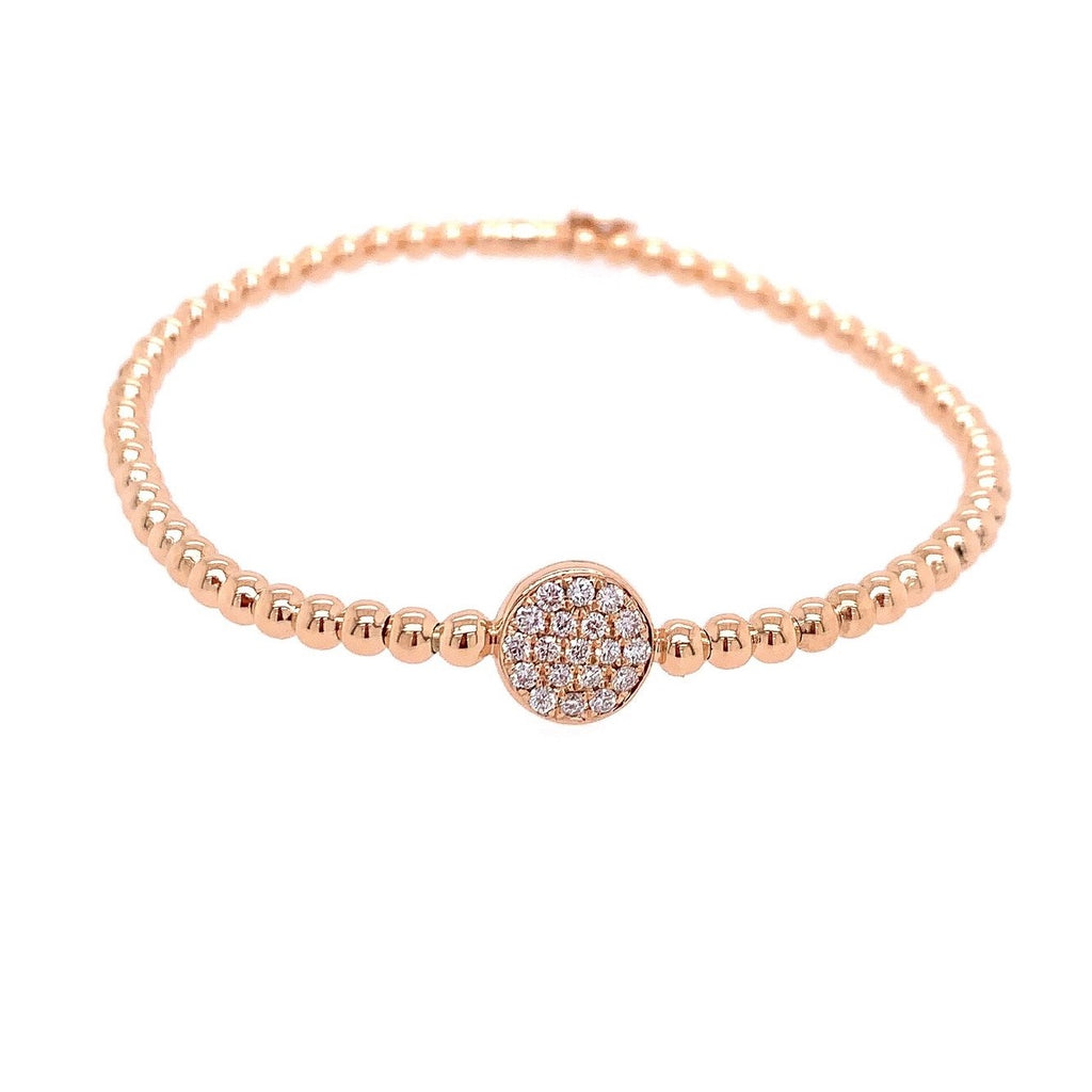 18k Rose Gold & Diamond Circle Stretch Bracelet (.21ct)