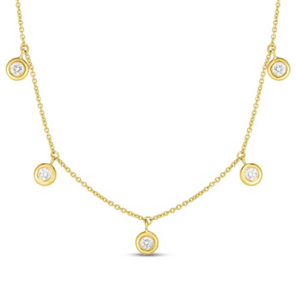 Diamond 5 Station Dangle Necklace .23ct (18k Yellow Gold)