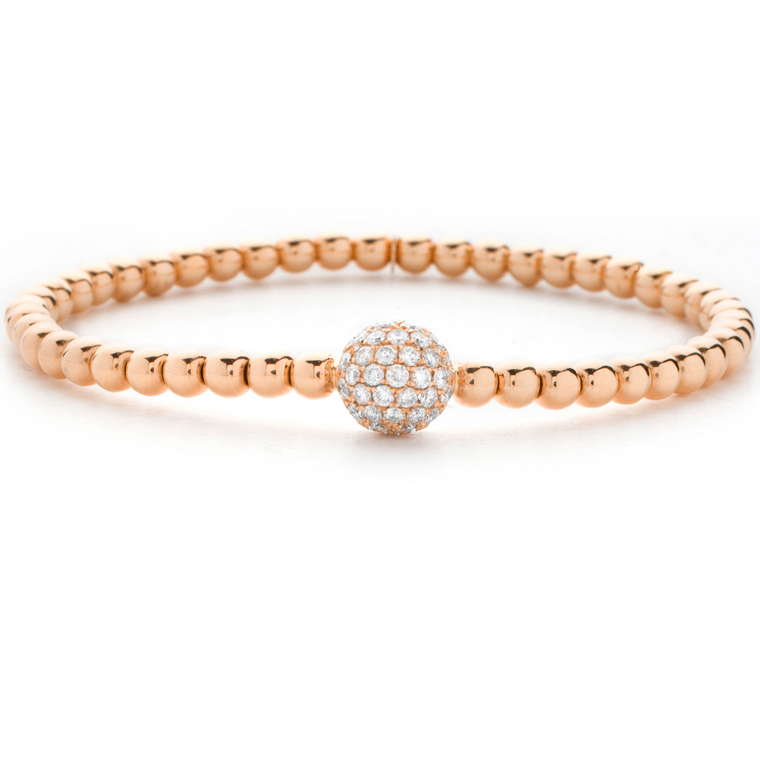 18k Rose Gold Stretch Bracelet With Pave Diamond Ball (.30ct G Vs)