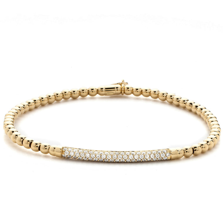 18k Yellow Gold & Diamond Bar Stretch Bracelet (.29ct G Vs)