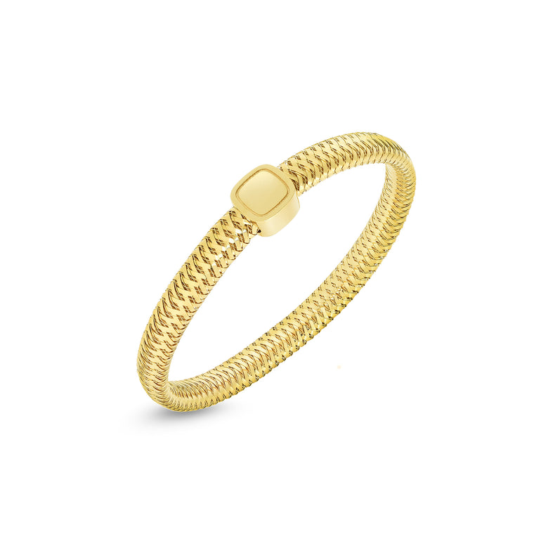 Primavera Bracelet With Center Square Diamonds (18k Yellow Gold)