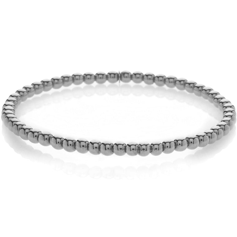 18k White Gold Beaded Stretch Bracelet