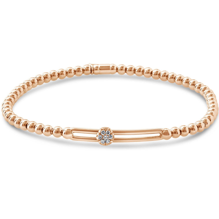 18k Rose Gold Diamond Single Station Sliding Stretch Bracelet (.25ct G Vs)
