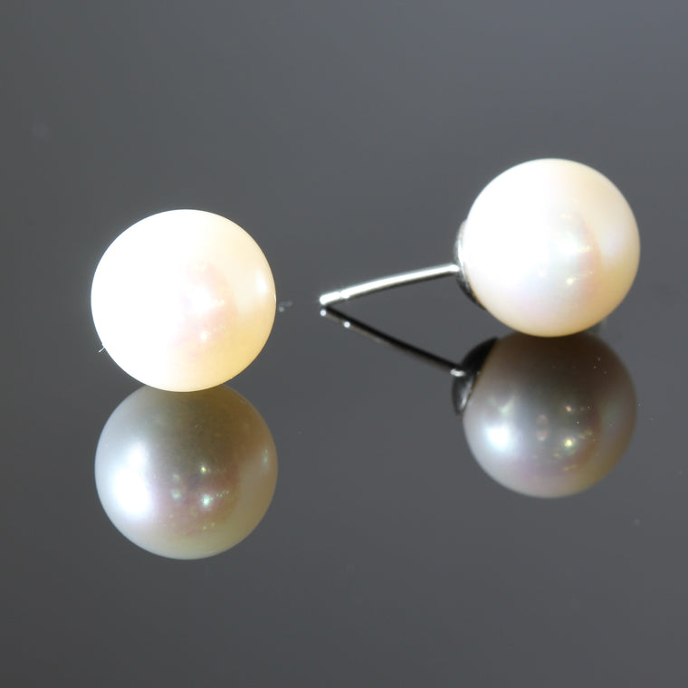 11-12mm Fresh Water Pearl on 14k Yellow Gold Cups Earrings