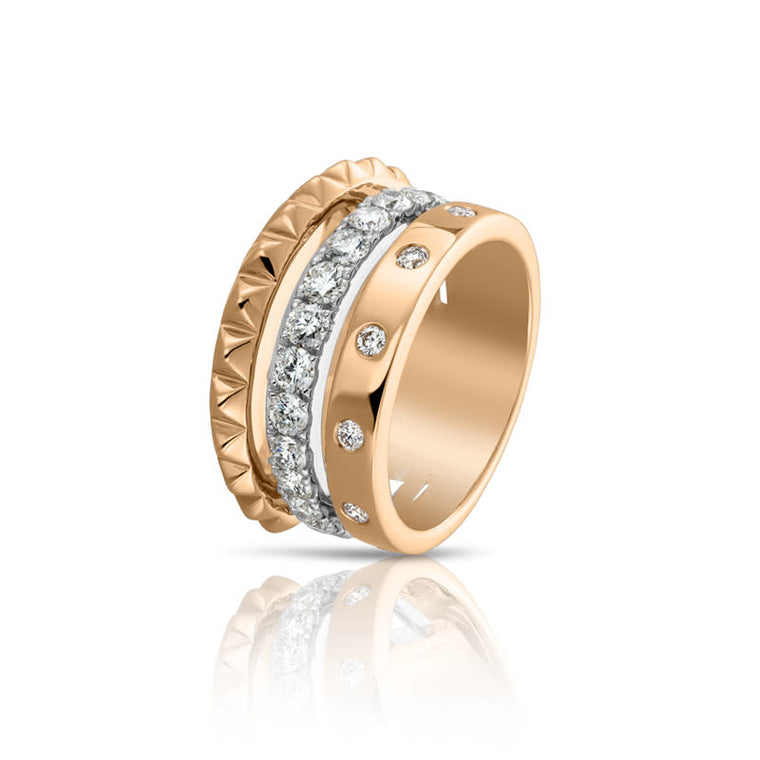 3 Row Stackable Ring Set (diamonds & Rose Gold .55ct)