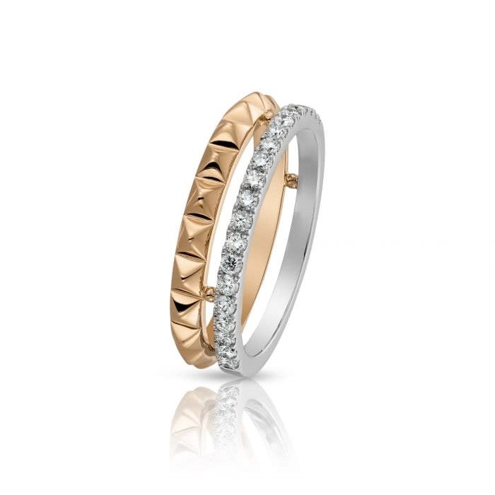18k Rose & White Gold Diamond 2 Row Stackable Ring (.33ct G Vs)