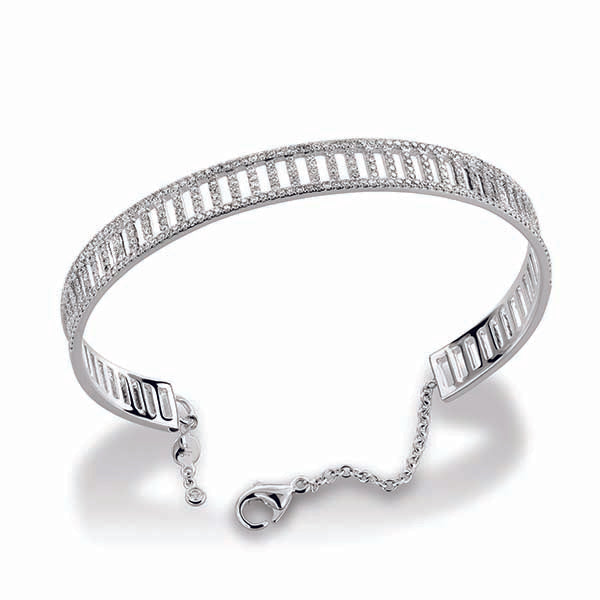 18k White Gold Pave Diamond Cuff Bracelet (1.46ct)