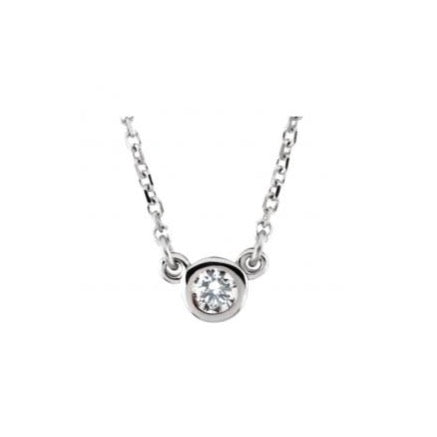 14k White Gold Diamond Solitaire Necklace (.25ct)