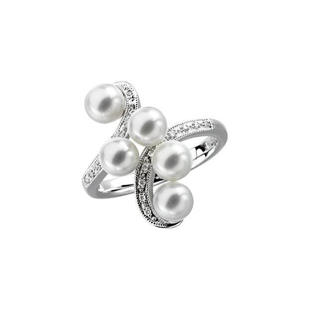 14k White Gold Fresh Water Pearl & Diamond Ring