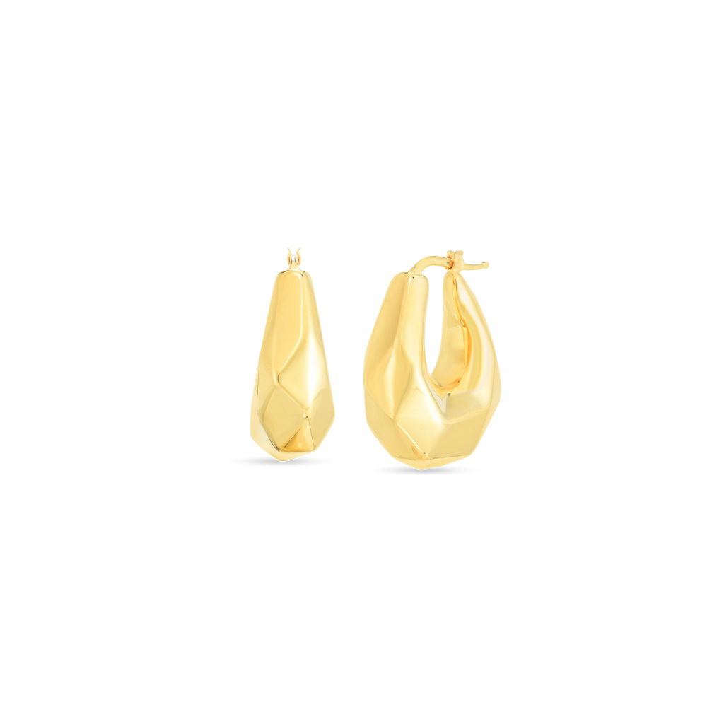 Oro Faceted Tear Drop Earrings (18k Yellow Gold)