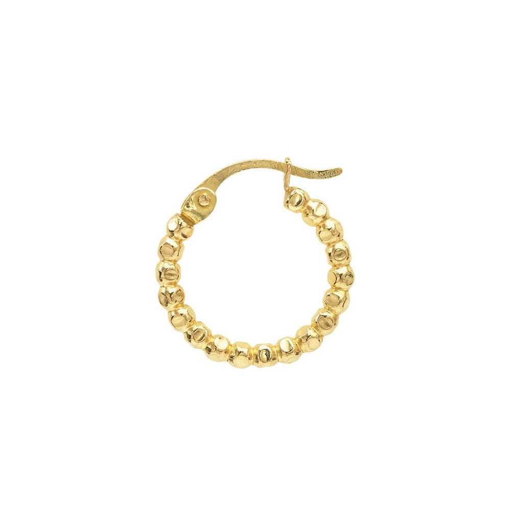 12/20 Yellow Gold Filled Small Beaded Hoop Earring 14.6MM