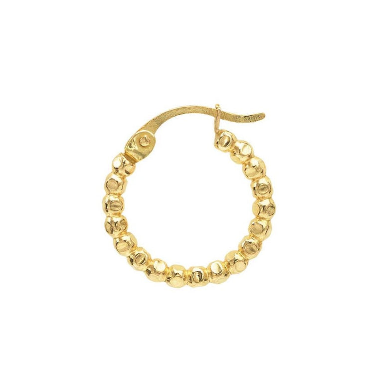 12/20 Yellow Gold Filled Medium Beaded Hoop Earring 19.4MM