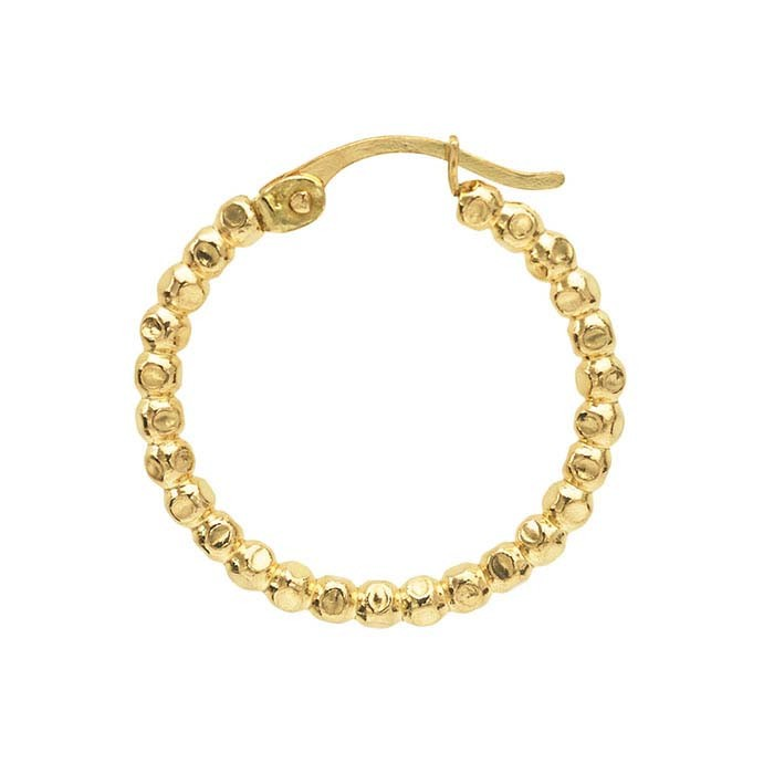 12/20 Yellow Gold Filled Large Beaded Hoop Earring 25.8MM