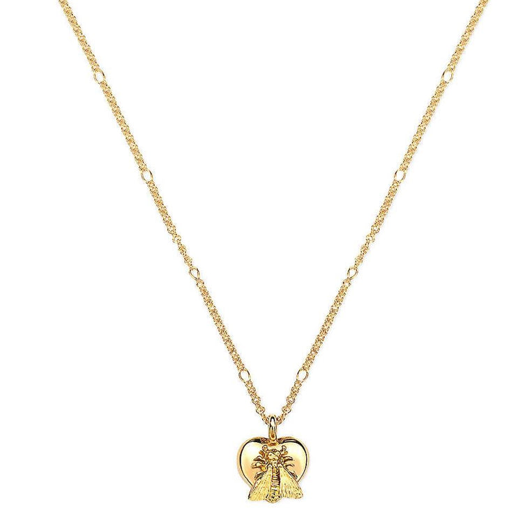 Bee With Heart Necklace (18k Yellow Gold)