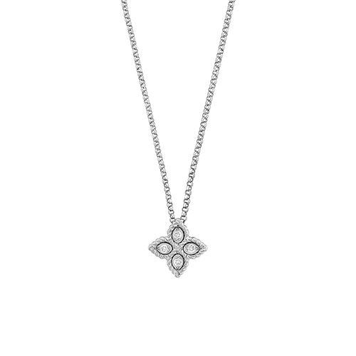 Diamond Small Princess Flower Necklace 0.04cts (18k White Gold)