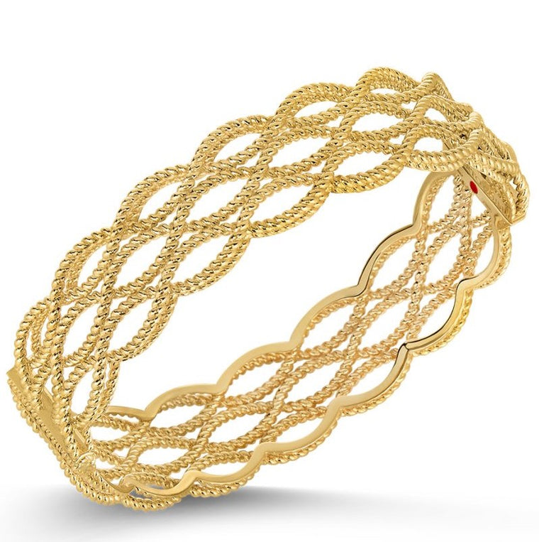 Barocco 3 Row Bangle Bracelet (18k Yellow Gold)
