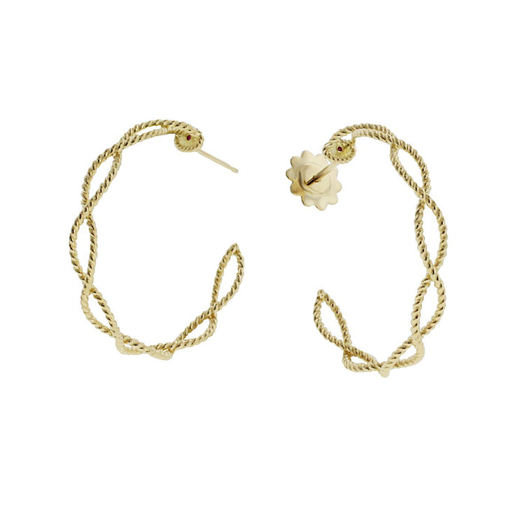 Barocco Braided Hoops (18k Yellow Gold)