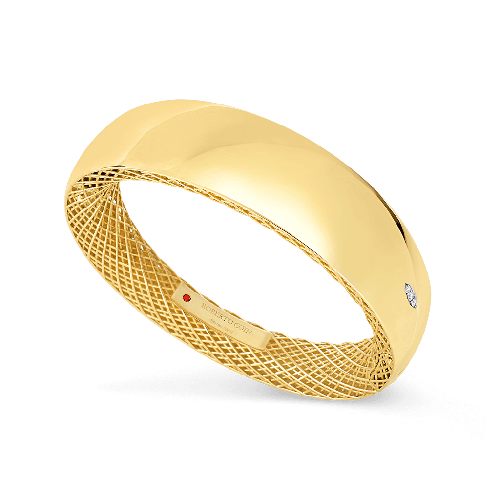 Satin Goldeb Gate Wide Bangle Bracelet (18k Yellow Gold)