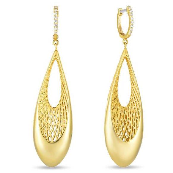 Diamond Tear Drop Earrings (18k Yellow Gold)
