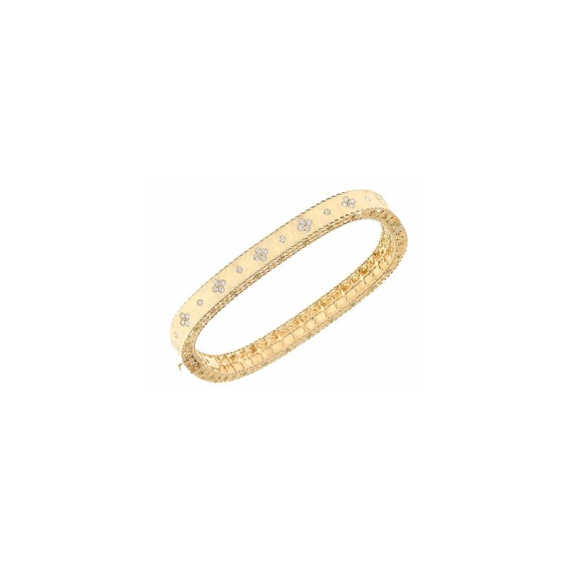 Diamond Princess Bangle Bracelet (18k Yellow Gold)